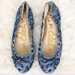 Sam Edelman Felicia Denim Embroidered Ballet Flat